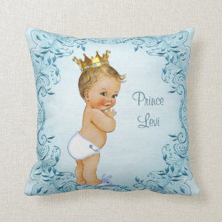 Personalized Blonde Prince Blue Leaves Pillow