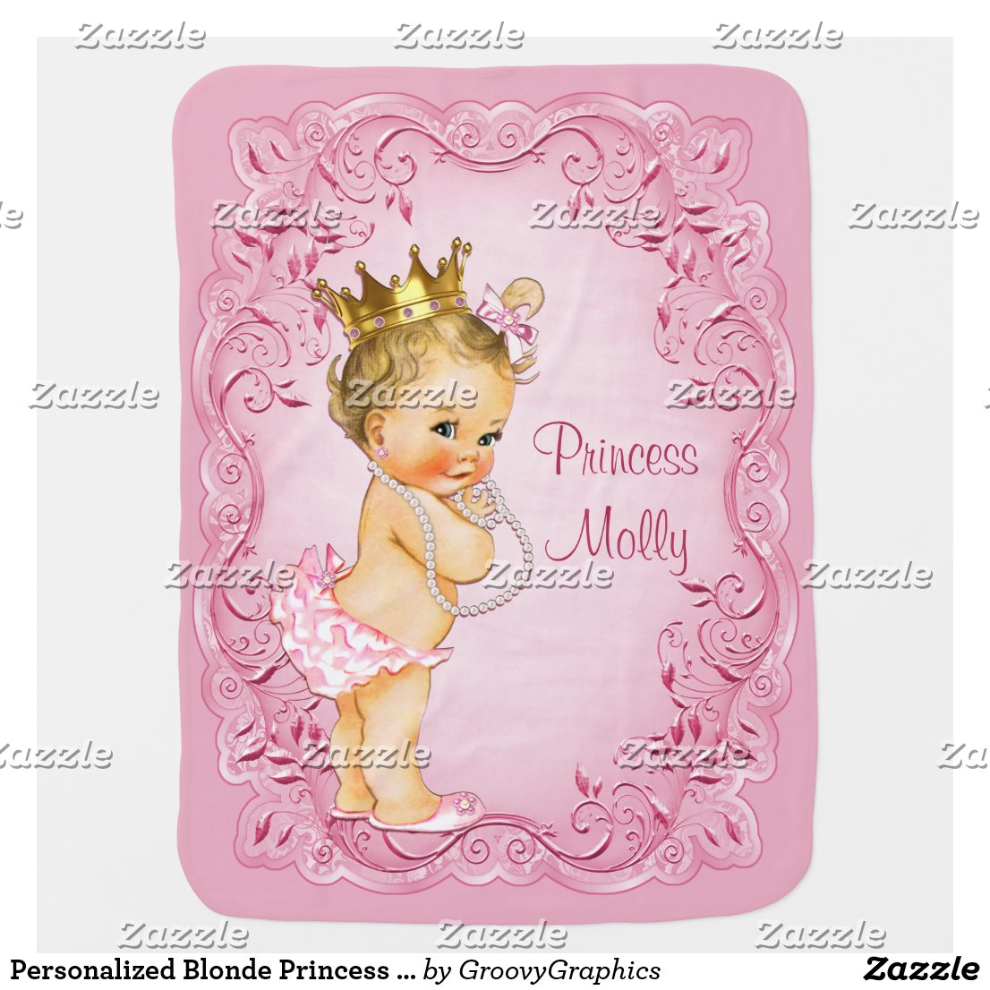 Personalized Blonde Princess Pink Leaves Frame Swaddle Blanket