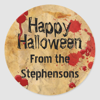 Personalized Blood Splatter Halloween Party Classic Round Sticker