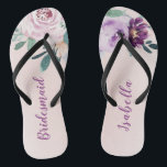 "Personalized Blooming botanical purple bridesmaid Flip Flops<br><div class=""desc"">Watercolor botanical floral and greenery in blush,  peach and purple,  elegant and romantic,   great personalized bridesmaid gifts</div>"