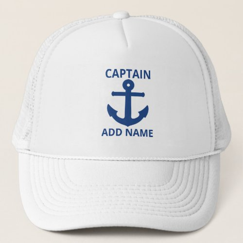 Personalized Blue Anchor Captain Name Trucker Hat