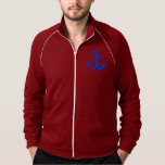 Personalized Blue Anchor Fleece Track Jacket