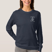 Personalized Blue Anchor Nautical bridal Embroidered Long Sleeve T-Shirt
