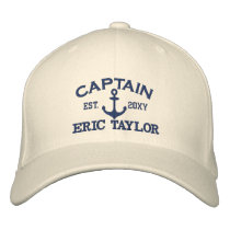 Personalized Blue Anchor Nautical Embroidered Baseball Cap