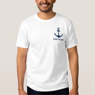 Personalized Blue  Anchor Nautical Embroidered T-Shirt