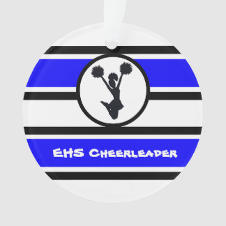 Personalized Blue and Black Cheerleader Ornament