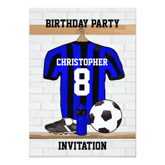 Personalized Blue and Black Football Soccer Jersey Invitation