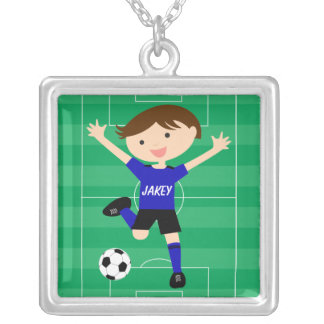 Personalized Blue and Black Soccer Goal Necklace