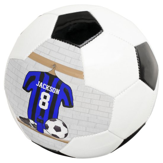 Personalized Blue and Black Striped Soccer Jersey Soccer Ball