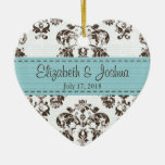 Personalized Blue and Brown Vintage Damask Wedding Double-Sided Heart Ceramic Christmas Ornament