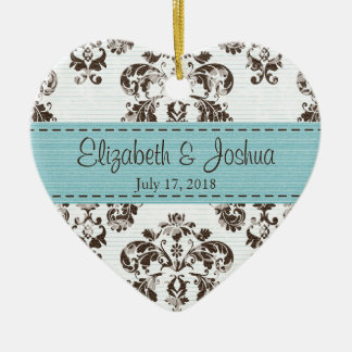 Personalized Blue and Brown Vintage Damask Wedding Christmas Tree Ornament