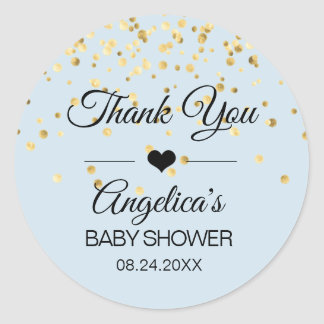Personalized Blue and Gold Baby Shower Labels