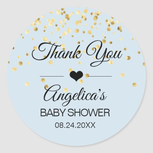 Personalized Blue and Gold Baby Shower Thank You Classic Round Sticker