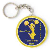 PERSONALIZED Blue and Gold Cheap Cheerleader Gifts Keychain