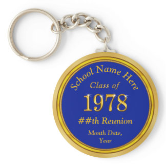 Personalized Blue and Gold Class Reunion Gifts Keychain