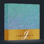 """Personalized Blue and Gold Faux Confetti Glitter 3 Ring Binder<br><div class=""""desc"""">This beautiful personalized blue and Gold Faux Confetti Glitter binder would be perfect for anything. You can easily change text color,  font,  size and position by clicking the customize button.</div>"""