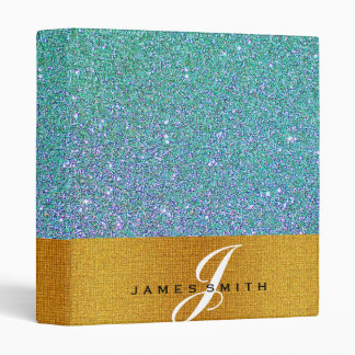 Personalized Blue and Gold Faux Confetti Glitter 3 Ring Binder