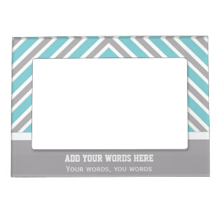 Personalized Blue And Gray Striped Magnetic Frame