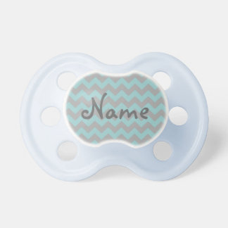 Personalized Blue and Gray Zigzag Pattern Pacifier