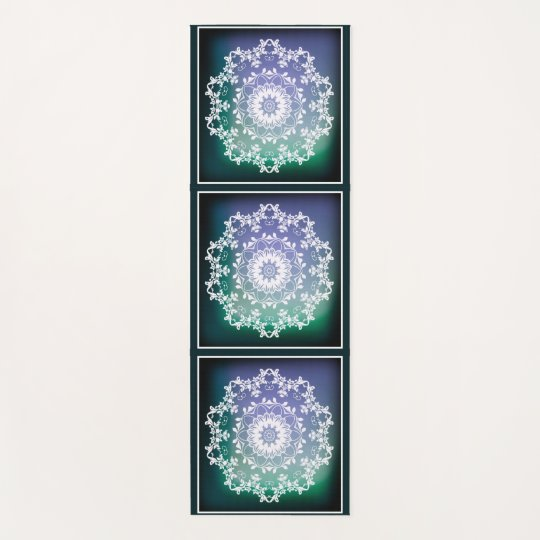 66bcd56f24 Personalized Blue and Green Abstract Zen Mandala Yoga Mat