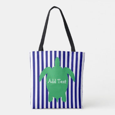 Beach Themed Personalized Blue and Green Sea Turtle Beach Bag