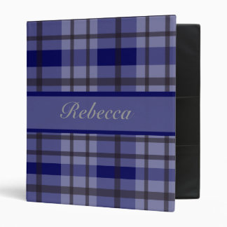 Personalized blue and grey plaid pattern design binder