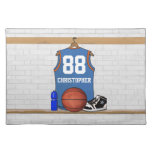 Personalized blue and orange basketball jersey placemats