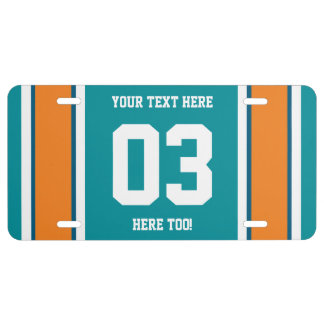 Personalized Blue and Orange Sports Stripes License Plate