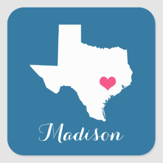 Personalized Blue and Pink Texas Home State Square Sticker
