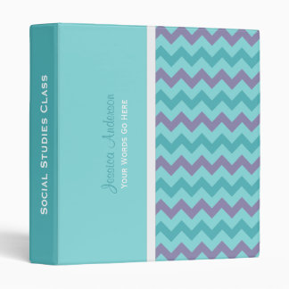 Personalized: Blue and Purple Chevron Binder