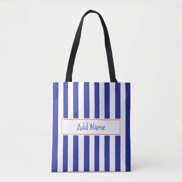 Beach Themed Personalized Blue and Red Striped Bag