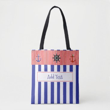 Beach Themed Personalized Blue and Red Striped Nautical Beach Tote Bag