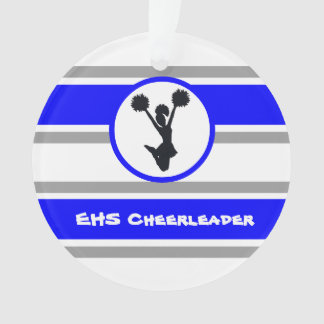 Personalized Blue and Silver Cheerleader Ornament