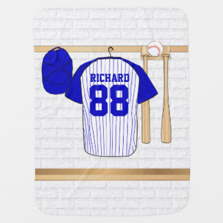 Personalized Blue and White Baseball Jersey Baby Blanket