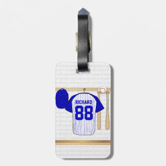 Personalized Blue and White Baseball Jersey Bag Tag