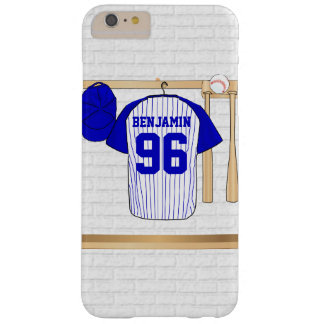 Personalized Blue and White Baseball Jersey Barely There iPhone 6 Plus Case