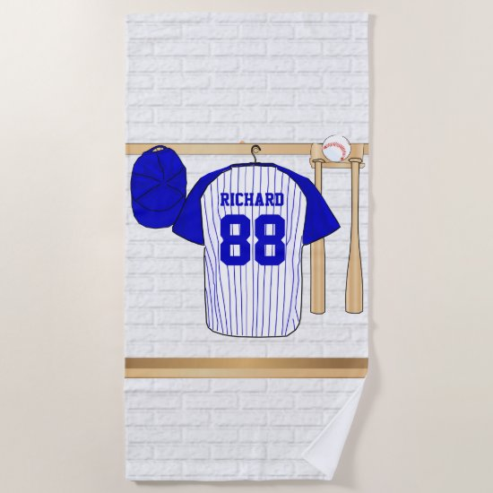 Personalized Blue and White Baseball Jersey Beach Towel