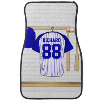 Personalized Blue and White Baseball Jersey Car Mat