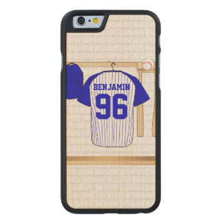 Personalized Blue and White Baseball Jersey Carved Maple iPhone 6 Case