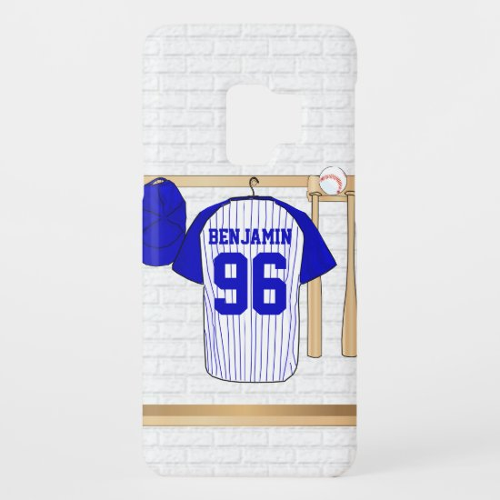 Personalized Blue and White Baseball Jersey Case-Mate Samsung Galaxy S9 Case