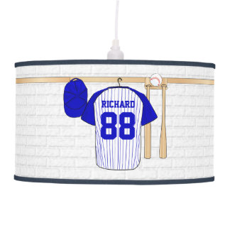 Personalized Blue and White Baseball Jersey Ceiling Lamp