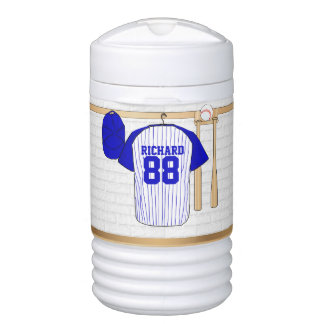 Personalized Blue and White Baseball Jersey Cooler