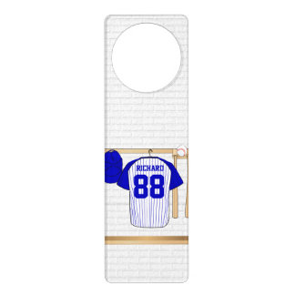 Personalized Blue and White Baseball Jersey Door Knob Hangers