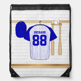Personalized Blue and White Baseball Jersey Drawstring Backpack
