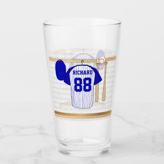 Personalized Blue and White Baseball Jersey Glas