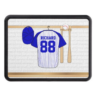 Personalized Blue and White Baseball Jersey Hitch Cover