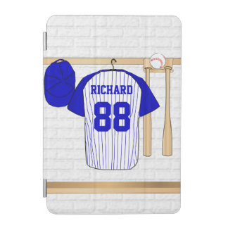 Personalized Blue and White Baseball Jersey iPad Mini Cover