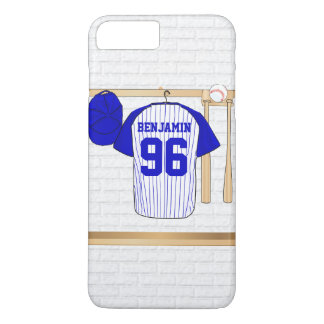 Personalized Blue and White Baseball Jersey iPhone 7 Plus Case