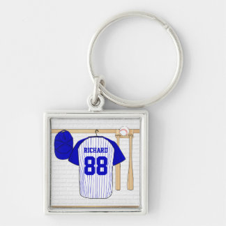 Personalized Blue and White Baseball Jersey Keychain