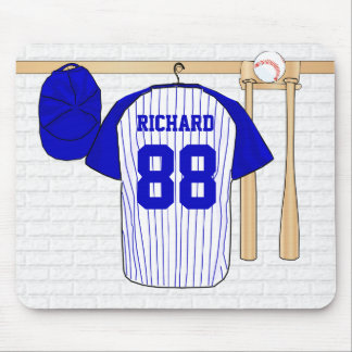Personalized Blue and White Baseball Jersey Mouse Pad